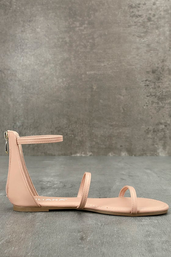 Lorelei Nude Ankle Strap Flat Sandals 4