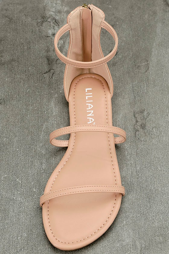 Lorelei Nude Ankle Strap Flat Sandals 5