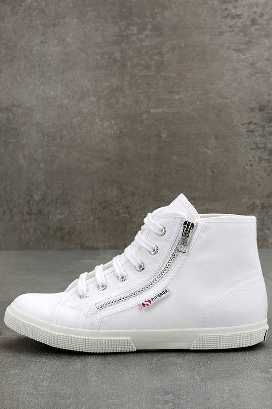 Superga 2224 COTU White Canvas High-Top Sneakers 1