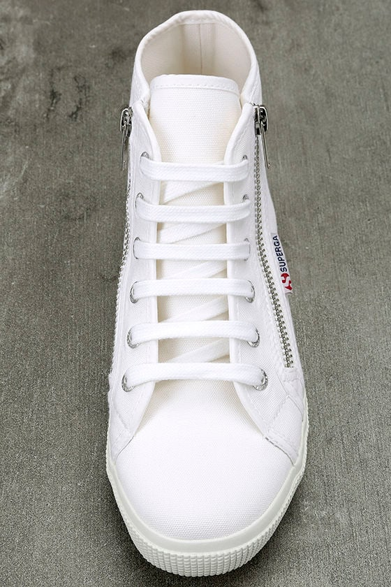 Superga 2224 COTU White Canvas High-Top Sneakers 5