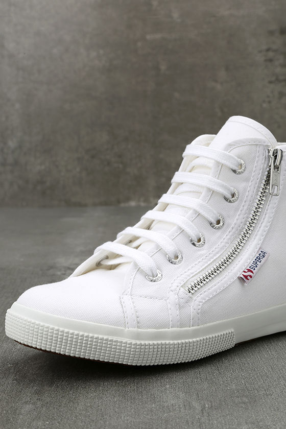 Superga 2224 COTU White Canvas High-Top Sneakers 6
