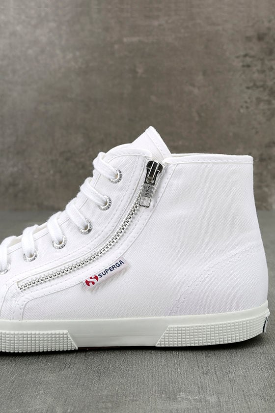 Superga 2224 COTU White Canvas High-Top Sneakers 7