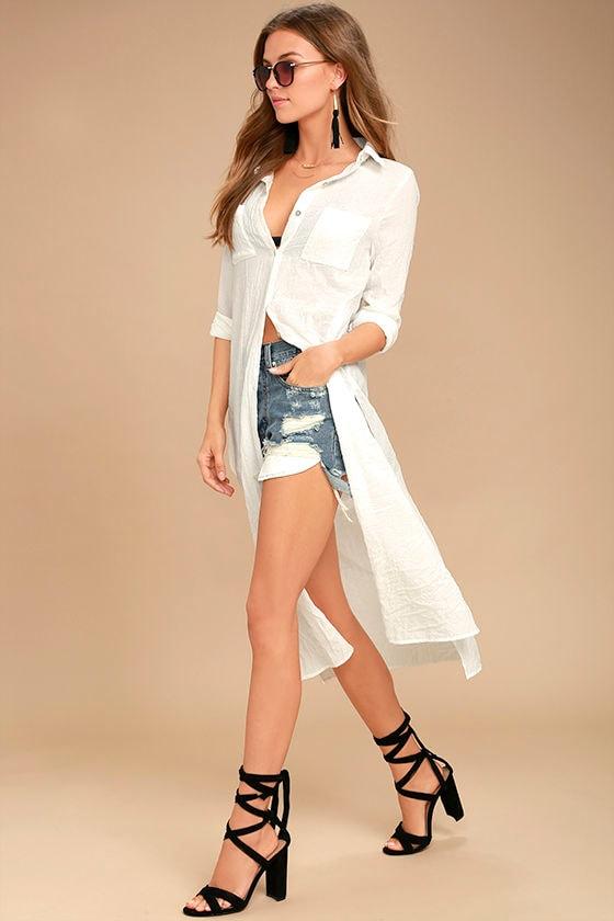 7669c606c0 White Cover-Up - Swim Cover-Up - Long Sleeve Shirt Dress