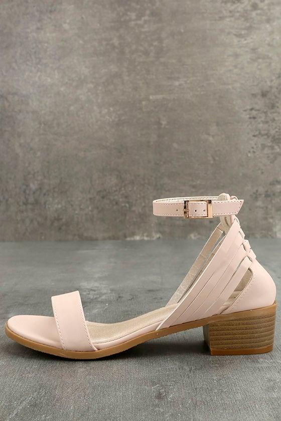 7b04120a8 Cute Blush Sandals - Ankle Strap Sandals - Single Sole Sandals -  33.00