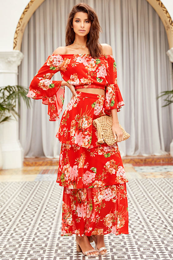 be2302e624 Lovely Red Floral Print Skirt - Maxi Skirt - Tiered Maxi Skirt - $46.00