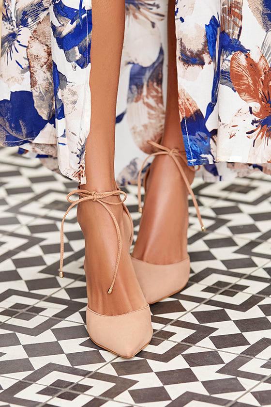 415a49477f3 Steve Madden Pamperd Heels - Tan Nubuck Leather Pumps - Block Heel ...