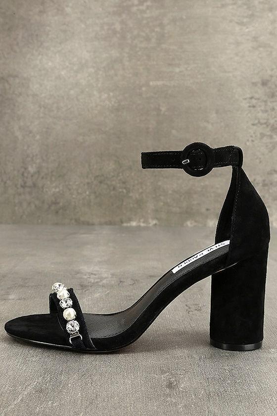 184bd530700 Steve Madden Sparkles Heels - Black Leather Heels - Suede Leather ...
