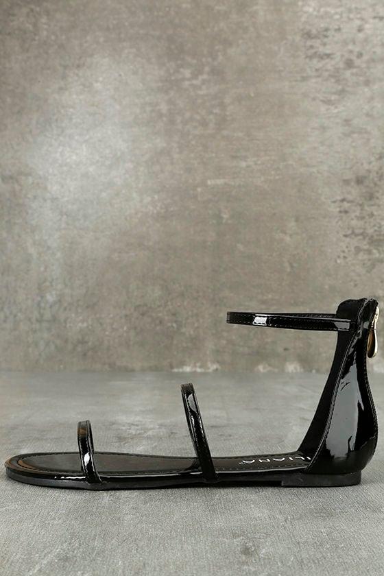 Lorelei Black Patent Ankle Strap Flat Sandals 1