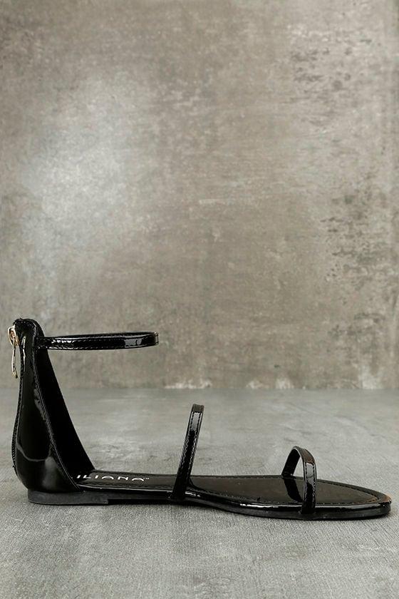 Lorelei Black Patent Ankle Strap Flat Sandals 4