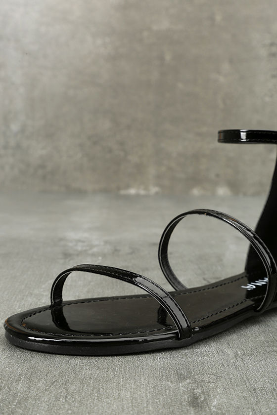 Lorelei Black Patent Ankle Strap Flat Sandals 6