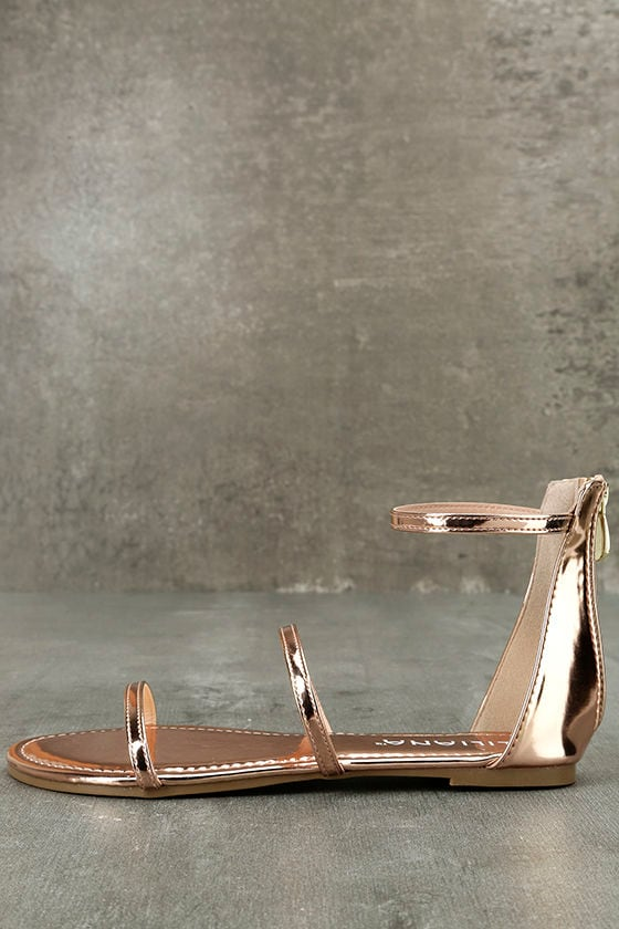 Lorelei Rose Gold Patent Ankle Strap Flat Sandals 1