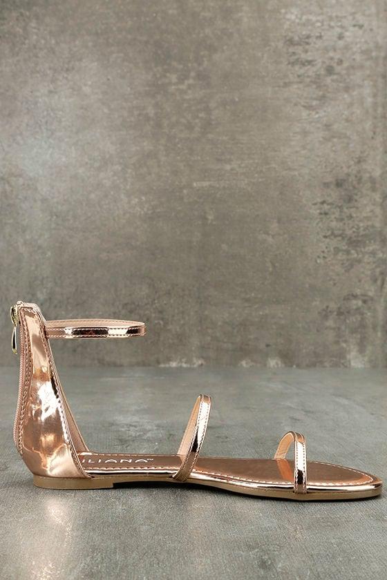 Lorelei Rose Gold Patent Ankle Strap Flat Sandals 4