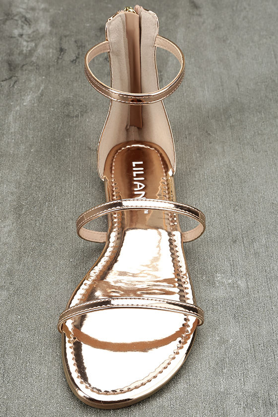 Lorelei Rose Gold Patent Ankle Strap Flat Sandals 5