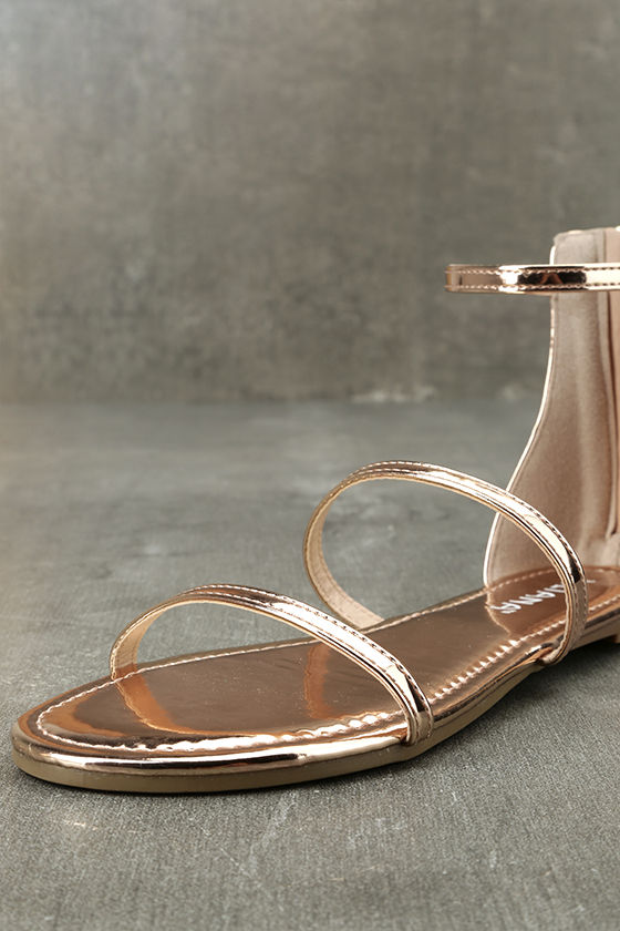 Lorelei Rose Gold Patent Ankle Strap Flat Sandals 6