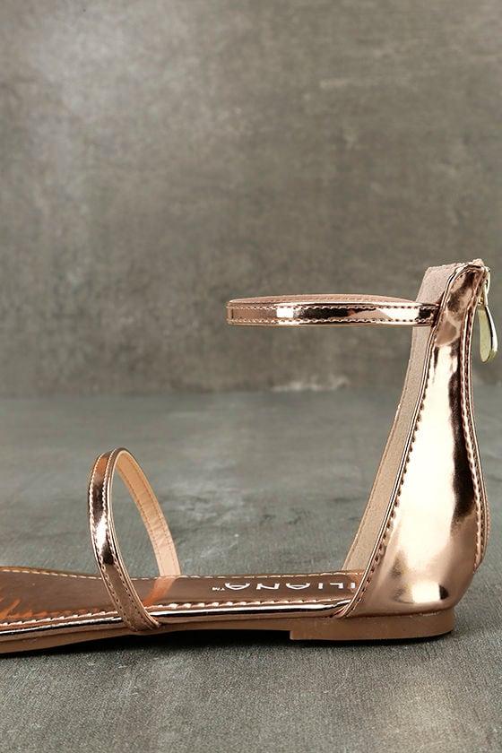 Lorelei Rose Gold Patent Ankle Strap Flat Sandals 7