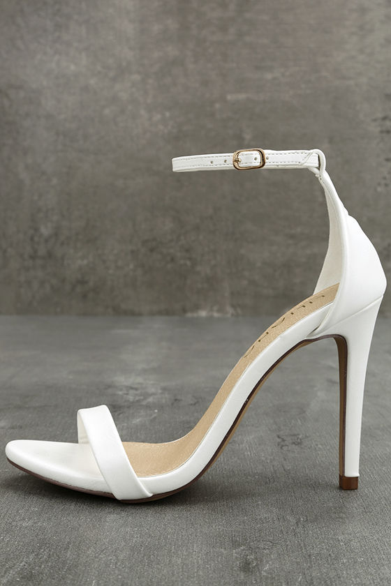 Stunning White Heels - Ankle Strap Heels - White Single Sole Heels ...