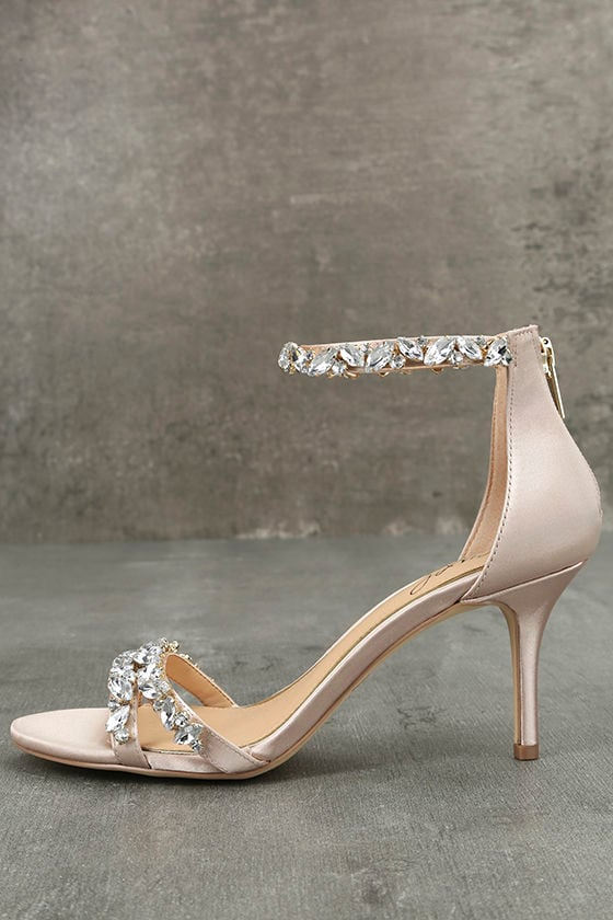 Jewel by Badgley Mischka Caroline Champagne Satin Heels 1