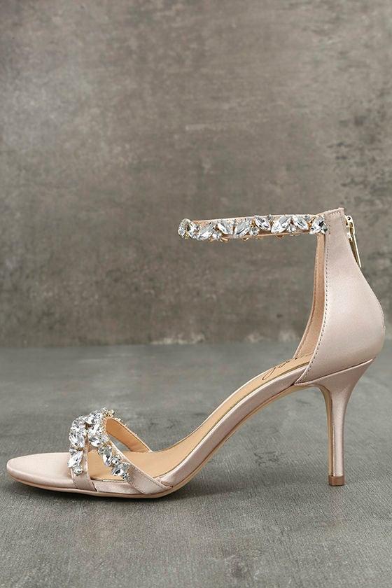 Jewel by Badgley Mischka Caroline Champagne Satin Heels 1