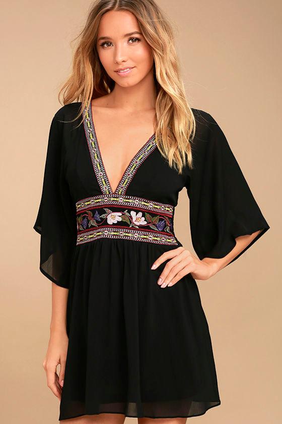 55c3e2d1516 Boho Black Dress - Embroidered Dress - Kimono Dress - Mini Dress -  49.00