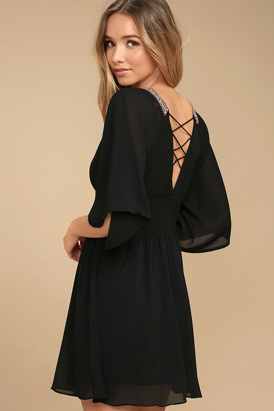 Reign Check Black Embroidered Dress 3
