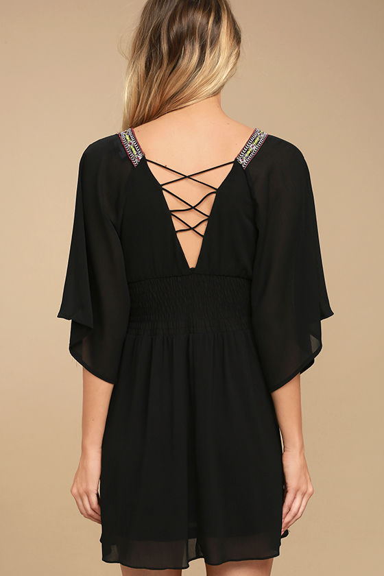 Reign Check Black Embroidered Dress 4