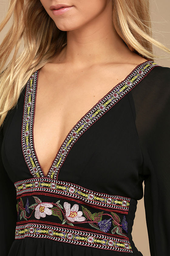 Reign Check Black Embroidered Dress 5