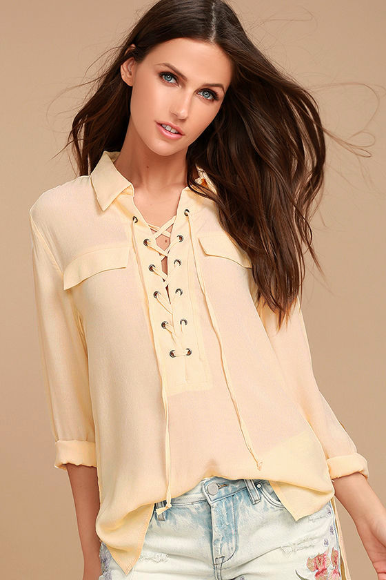 Once in a Lifetime Light Beige Lace-Up Top 1
