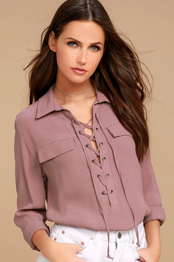 Once in a Lifetime Mauve Lace-Up Top 1