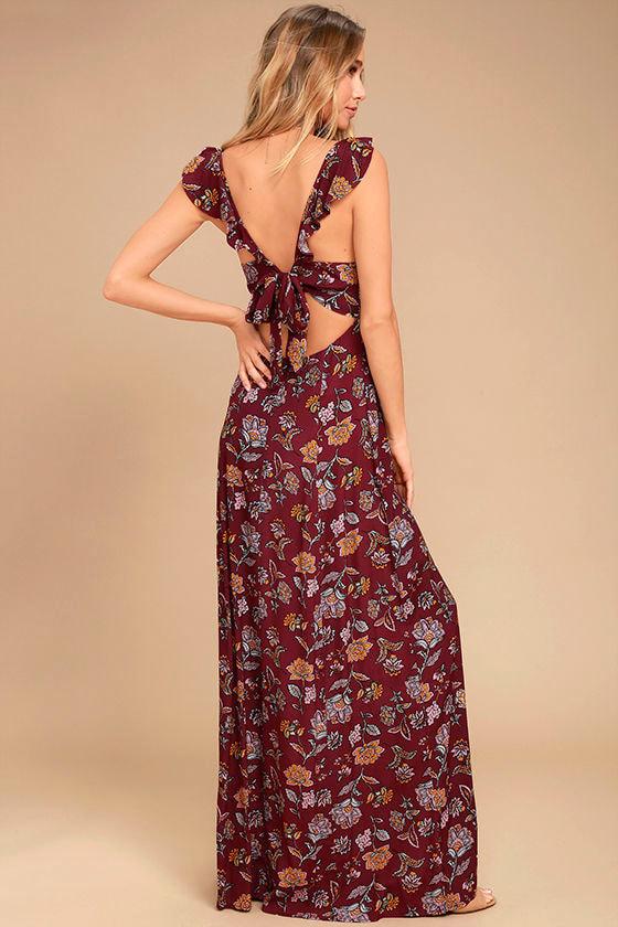 Simple Pleasure Burgundy Floral Print Maxi Dress 3