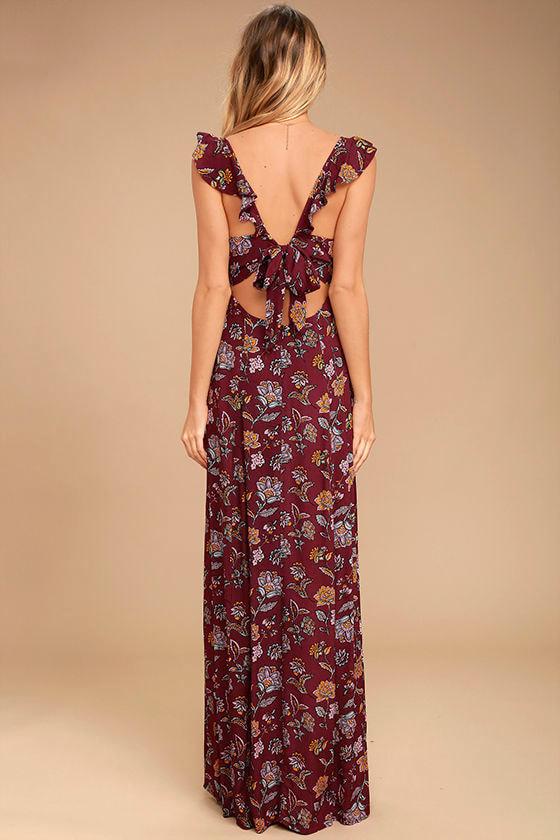 Simple Pleasure Burgundy Floral Print Maxi Dress 4