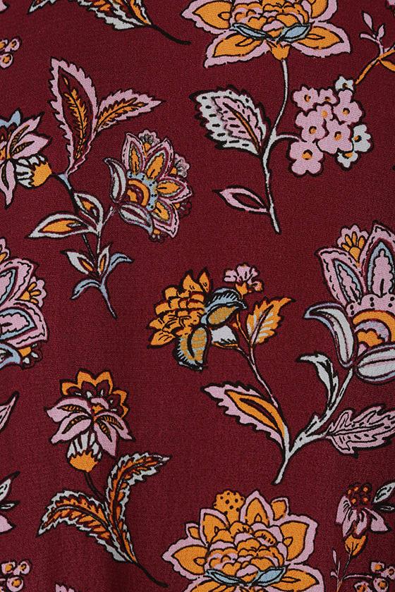 Simple Pleasure Burgundy Floral Print Maxi Dress 6
