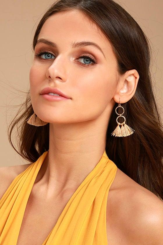 Quite the Pair Beige Tassel Earrings 1
