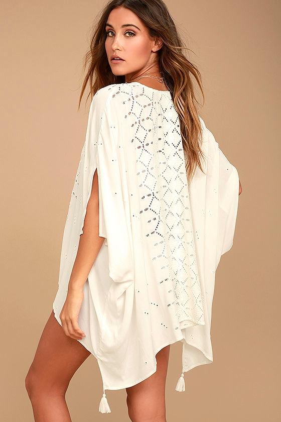 Sarita White Lace Kaftan Cover-Up 3