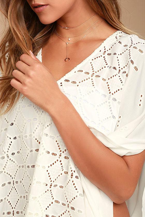 Sarita White Lace Kaftan Cover-Up 5
