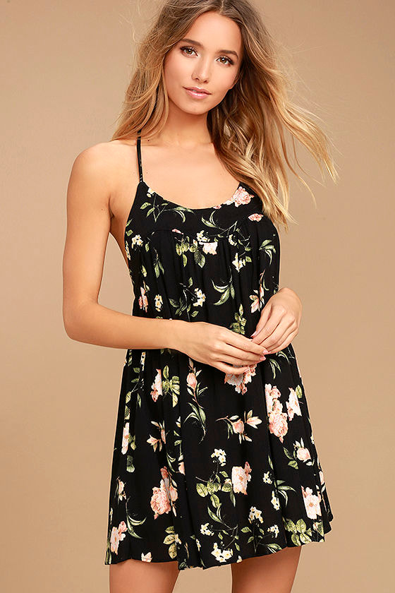 6f44ddab44a8 Cute Black Dress - Floral Print Dress - Babydoll Dress - Halter Dress -  $56.00