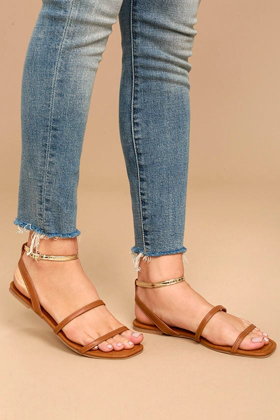 Marnina Tan and Gold Ankle Strap Flat Sandals 2