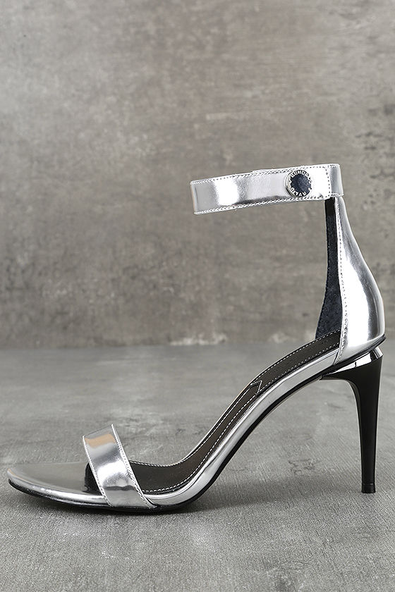 Kendall + Kylie Madelyn3 Silver Ankle Strap Heels 1