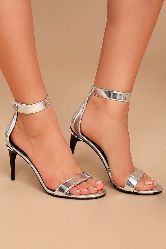 Kendall + Kylie Madelyn3 Silver Ankle Strap Heels 2
