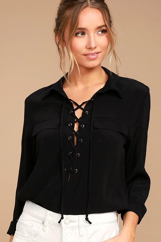 40eaa739f6 Chic Black Top - Lace-Up Top - Long Sleeve Top -  46.00
