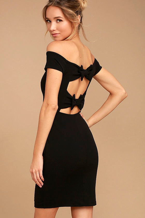 Bow-Getter Black Off-the-Shoulder Bodycon Dress 1