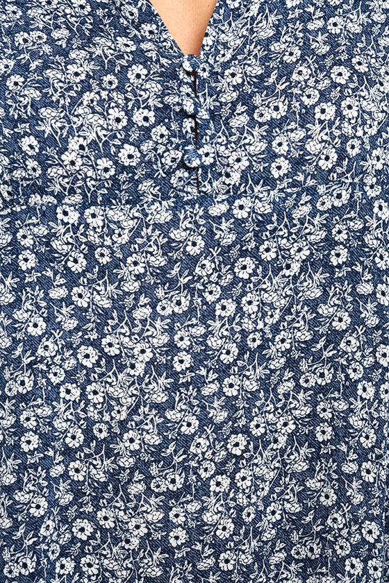 Show You Care Blue and White Floral Print Swing Dress 6
