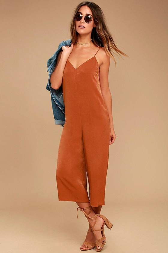 Elisa Rust Orange Midi Jumpsuit 1