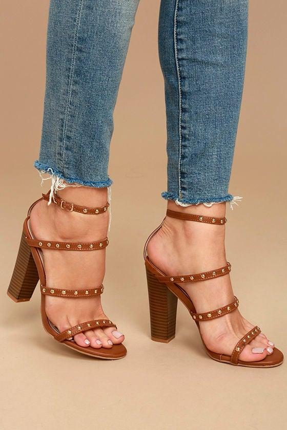 f49d96e06e5a Sexy Cognac Studded Heels - Cognac Ankle Strap Heels - Vegan Leather Heels  -  38.00