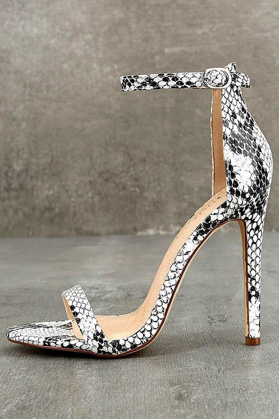 Almonaster White Snake Ankle Strap Heels 1