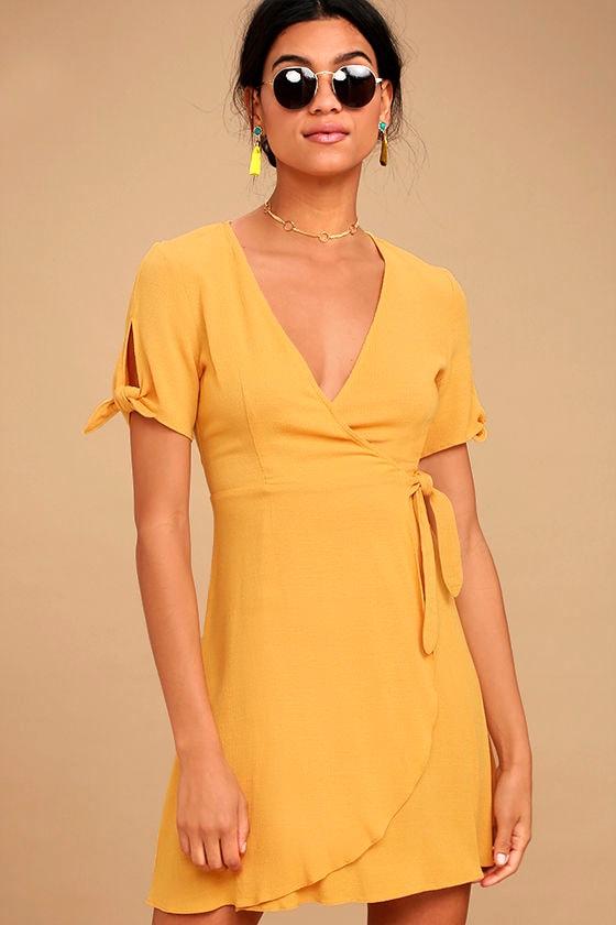 My Philosophy Golden Yellow Wrap Dress 1