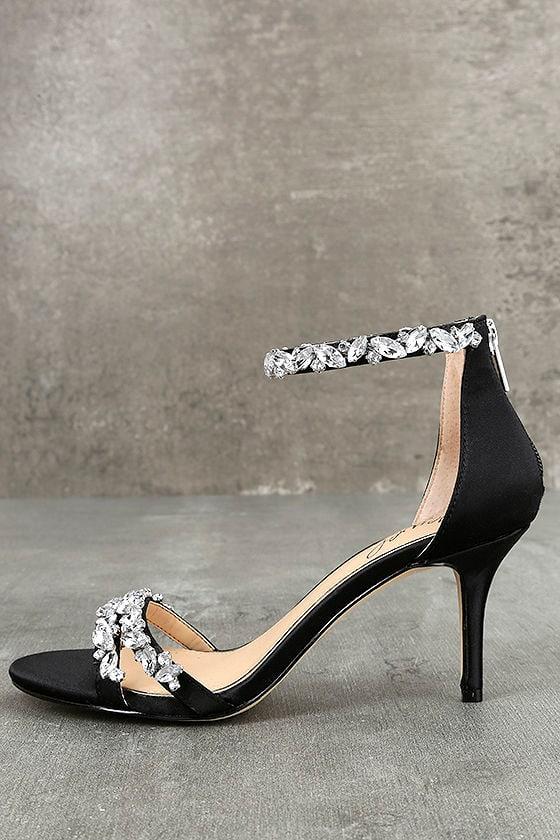 Jewel by Badgley Mischka Caroline Black Satin Heels 1