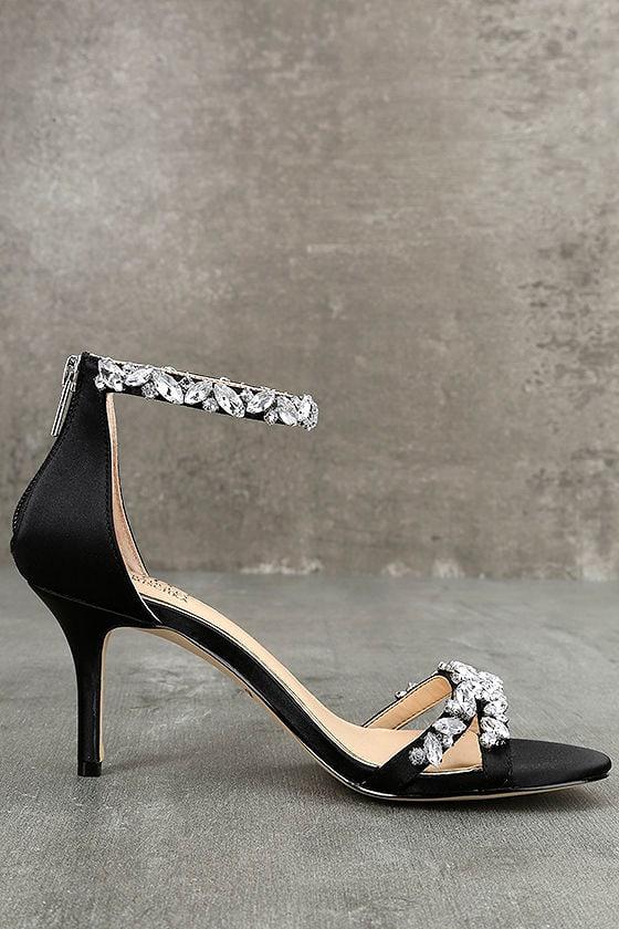 Jewel by Badgley Mischka Caroline Black Satin Heels 4