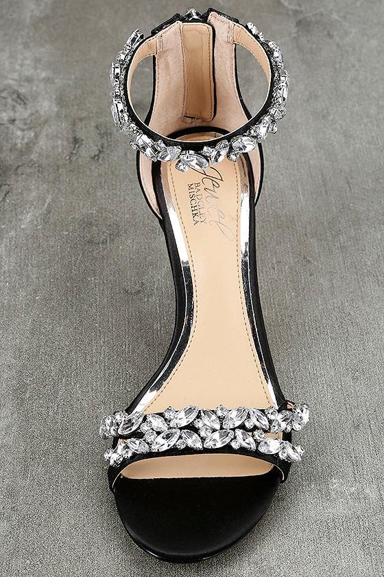 Jewel by Badgley Mischka Caroline Black Satin Heels 5