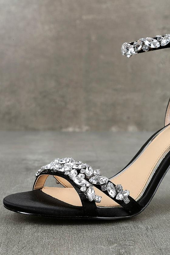 Jewel by Badgley Mischka Caroline Black Satin Heels 6