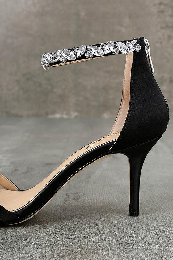 Jewel by Badgley Mischka Caroline Black Satin Heels 7